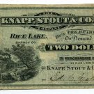 Wisconsin, Rice Lake, Barron County, Knapp, Stout & Co. $2, ND(1870s-80s)