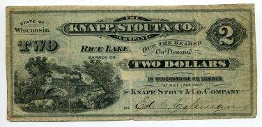 Wisconsin, Rice Lake, Barron County, Knapp, Stout & Co. $2, ND(1870s-80s)