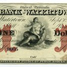 Wisconsin, Watertown, The Bank of Watertown, $1, September 1, 1863, Unissued