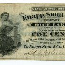 Wisconsin, Rice Lake, Barron County, Knapp, Stout & Co., 5 Cents, ND(1870s-80s)