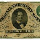 Virginia, Richmond, Virginia Treasury Note, $5, March 13, 1862