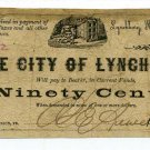 Virginia, The City of Lynchburg, 90 Cents, May 1, 1862