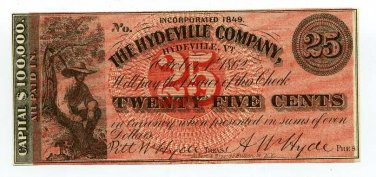 Vermont, Hydeville, The Hydeville Company, 25 Cents, October 1, 1862, Unissued