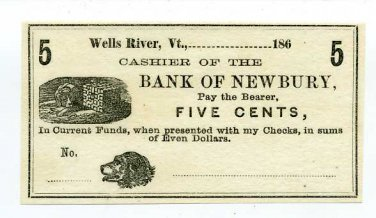 Vermont, Wells River, No Issuer, 5 Cents, 186- (1860s)
