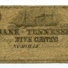 Tennessee, Nashville, The Bank of Tennessee, 5 Cents, December 1, 1861