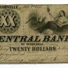Tennessee, Nashville, Central Bank of Tennessee, $20, July 10, 1855