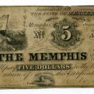 Tennessee, Memphis, The Memphis Savings Institution, $5, August 6, 1852