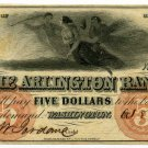 Washington, D.C., Arlington Bank, $5, Oct 8, 1855