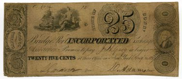 Connecticut, Bridgeport Incorporated Exchange Association, 25 Cents, Aug 4, 1837