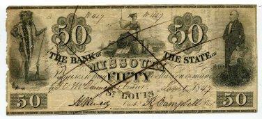 Missouri, St Louis, Bank of the State of Missouri, $50, Jan 1, 1847