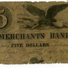 Massachusetts, Boston, Merchants Bank, $5, October 20th, 1854