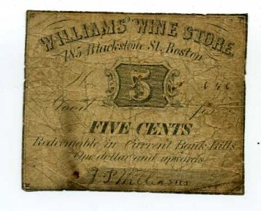 Massachusetts, Boston, Williams Wine Store, 5 Cents, No Date (1862-64)