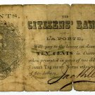 Indiana, LaPorte, Citizens Bank, 10 Cents, 1862, Payable in US Treasury Notes
