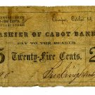 Massachusetts, Chicopee, Buckingham & Taylor, 25 Cents, October 1, 1862