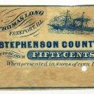 Illinois, Freeport, Thomas Long, 50 Cents, Stephenson County Bank, 1860s