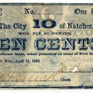 Mississippi, Natchez, City of Natchez, 10 Cents (One Dime), April 15, 1863