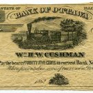 Illinois, Ottawa, William HW Cushman, 25 Cents, 1862, payable at Bank of Ottawa