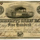 Mississippi, Jackson, Mississippi Union Bank, $500, May 1, 1840