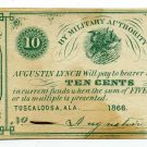 Alabama, Tuscaloosa, Augustin Lynch, 10 Cents, 1866