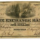 Virginia, Norfolk, The Exchange Bank of Virginia, $5, August 13, 1856