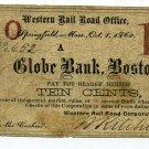 Massachusetts, Springfield, Western Railroad Office, 10 Cents, Oct 1, 1862