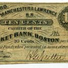 New Hampshire, Concord, Manchester & Lawrence Railroad, 10 Cents, Dec. 1, 1862