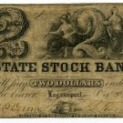 Indiana, Logansport, State Stock Bank, $2, Oct 20, 1852
