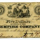 New York, New York City, Empire Company, $5, October 10, 1849