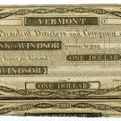 Vermont, Windsor, Bank of Windsor, $1, 18--, (1830s)