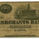 Indiana, LaFayette, Merchants Bank, $2, December 15, 1852