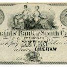 South Carolina, Cheraw, Merchants Bank of S.C., $7 , 18-- , Reprint