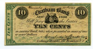 New York, New York City, Manchester & Stackellar, 10 cents, November 20, 1862