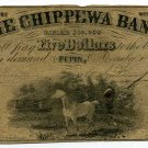 Wisconsin, Pepin, The Chippewa Bank, $5, November 1, 1856