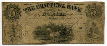 Wisconsin, Pepin, The Chippewa Bank, $5, November 1, 1856
