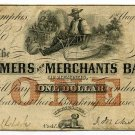 Tennessee, Memphis, The Farmers and Merchants Bank, $1, August 1, 1854