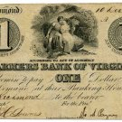 Virginia, Richmond, Farmers Bank of Virginia, $1, December 10, 1861