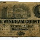 Vermont, Brattleboro, The Windham County Bank, $5, June 1, 1859
