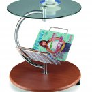 Contemporary Modern Glass, Wood & Chrome C End Table