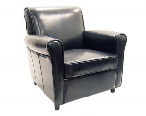 Contemporary Modern Full Leather Club Chair