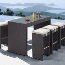 Sleek Modern Contemporary Patio Bench Chair -Cappuccino