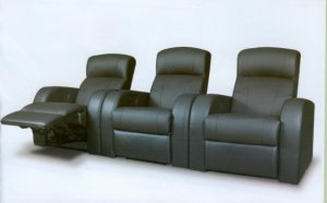 Contemporary Home Theater Recliner in Black Leather