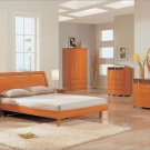 Modern Bed Emily Queen Bedroom Furniture Set in Cherry