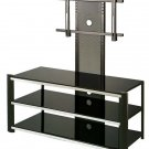 Modern LCD Plasma TV Stand with Mount Black Glass Shelf