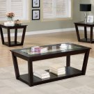 Contemporary 3 PC Piece Wood & Glass Coffee Table Set