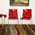 Kartell Style Modern Red Clear Plastic Dining Chairs