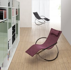 Modern Rocking Chaise Lounge Chair Purple Black Unique