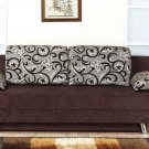 Modern Fabric Storage Sleeper Sofa Bed Futon Couch Dorm