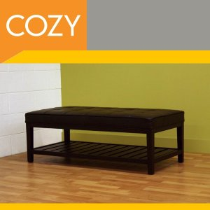 Contemporary Dark Brown Tufted Leather Ottoman Bench