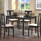 Contemporary Black Wood Dining Table and Chairs Set 5PC