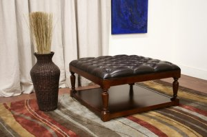 Elegant Tufted Faux Leather Ottoman Coffee Table Stool